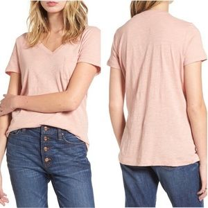 Madewell Pink Whisper Cotton V-Neck Pocket Tee